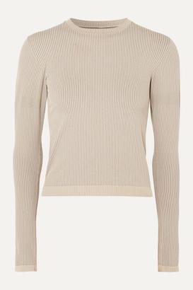 Cordova Signature Ribbed Stretch-knit Top - Beige
