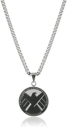 "Marvel Comics Men's Stainless Steel Shield Chain Pendant Necklace 24"""