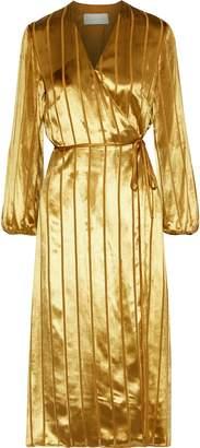 Mason by Michelle Mason Striped Burnout Velvet Midi Wrap Dress