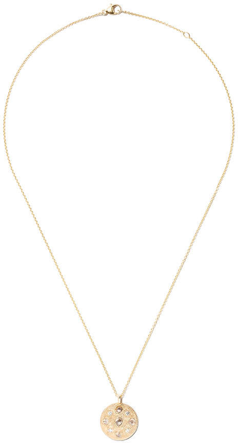 De Beers 18kt yellow gold Talisman Small Medal diamond pendant necklace