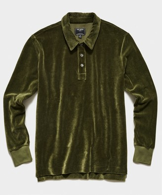 Todd Snyder Velour Long Sleeve Polo in Olive