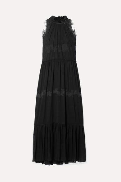 3.1 Phillip Lim Lace-trimmed Stretch-silk Crepon Maxi Dress - Black