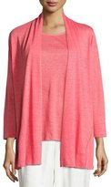 Caroline Rose Linen Knit Midi Cardigan, Coral, Petite