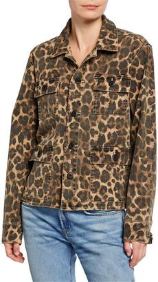 Pam & Gela Leopard-Print Stretch-Cotton Army Shirt