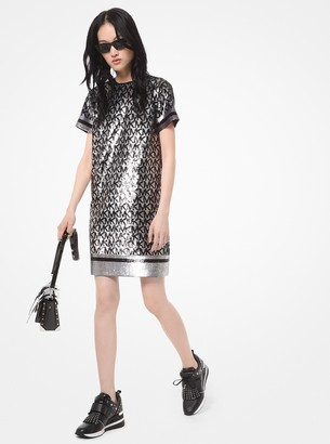 MICHAEL Michael Kors Sequined Logo Georgette T-Shirt Dress