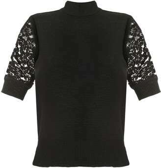 GOEN.J Lace Embroidered Crochet Top