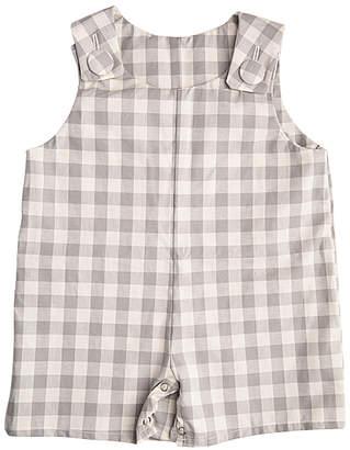 Caught Ya Lookin' Boys' Short Overalls Gray - Gray & Cream Gingham Shortalls - Infant & Toddler