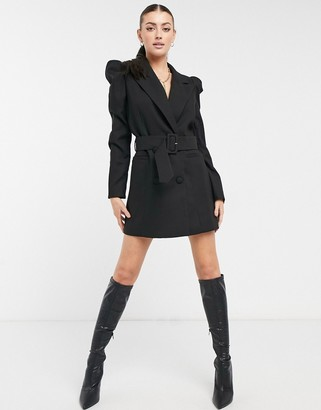 Forever U puff sleeve blazer dress with belt in black