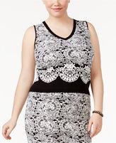 Rachel Roy Plus Size Cropped Jacquard Top