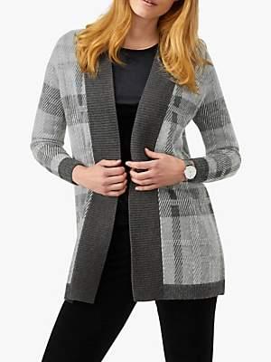Pure Collection Longline Check Coatigan, Grey