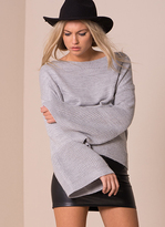 Missy Empire Lila Grey Oversized Bell Sleeve Knitted Jumper