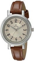 Titan Women's 'Neo' Quartz Metal and Leather Casual Watch, Color:Brown (Model: 2554SL01)