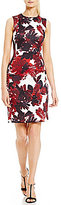 Calvin Klein Petite Leaf-Print Scuba Sheath Dress