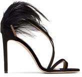 Jimmy Choo BELISSA 100 Black Suede Stiletto Sandals with Feather Trim