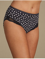 M&S Collection 2 Pack Cotton Rich Lace High Leg Knickers