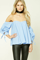 Forever 21 FOREVER 21+ Pinstripe Off-the-Shoulder Top