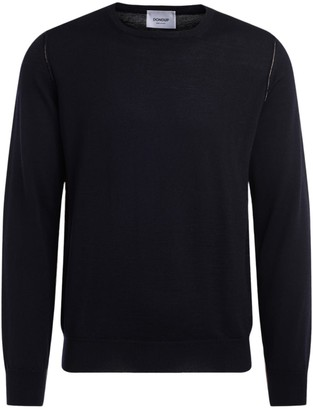 Dondup Crewneck Sweater Made Of Blue Wool With Beige Contrast Profile