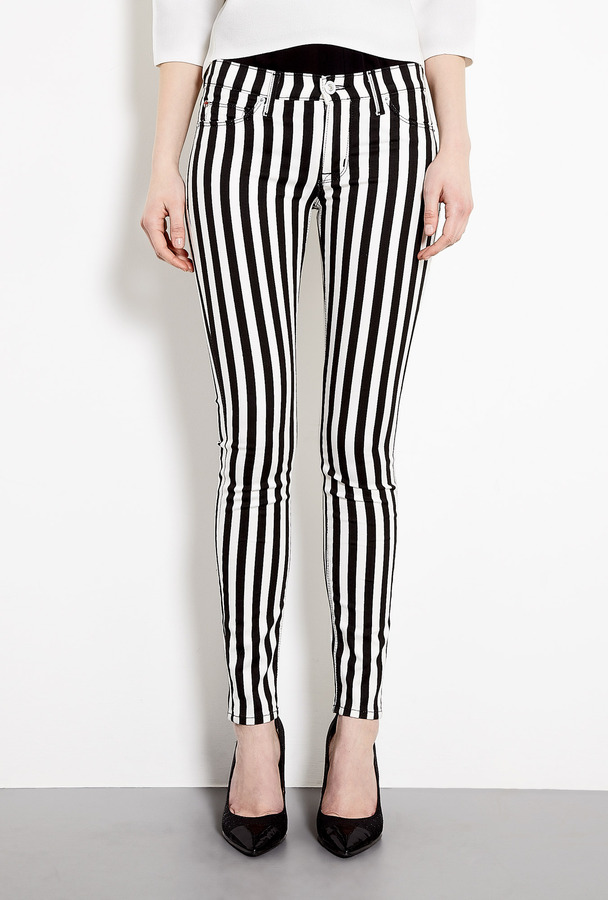 Hudson Striped Mid-rise Super Skinny Jeans