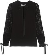 Alexis Rochelle lace-paneled silk blouse