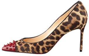 Christian Louboutin Geo Spike-Toe Leopard Calf Hair Red Sole Pump