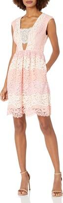 ABS by Allen Schwartz Women's Deep V Neck lace fit & Flare w/Bare Midriff Dress