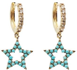 Rosa De La Cruz Turquoise And Diamond Star Charm Earrings Pair