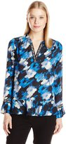 NY Collection Women's Long Sleeve Y-Neck Printed Blouse with Pleated Ruffle Hem and Embellished Neck