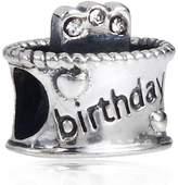 Choruslove crystal charms Choruslove April Birthday Cake Birthstone Charm 925 Sterling Silver Bead for Children Gift