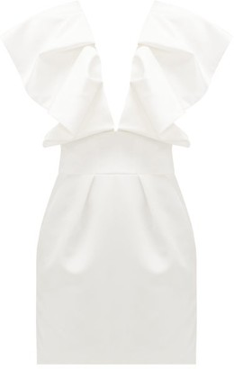 Alexandre Vauthier Ruffled Plunge-neck Satin Mini Dress - Ivory
