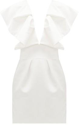 Alexandre Vauthier Ruffled Plunge-neck Satin Mini Dress - Womens - Ivory