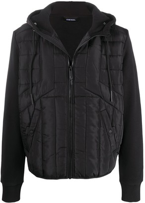 Diesel Quilted Hooded Bomber Jacket