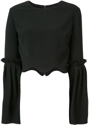 Christian Siriano Scalloped Cropped Blouse