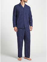 John Lewis Herringbone Stripe Brushed Cotton Pyjamas, Navy