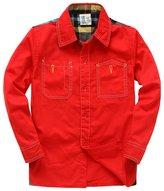 XiaoYouYu Big Boys' Plaid Long Sleeve Sport Casual Shirt US Size 4T