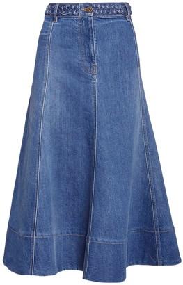 Valentino Flared Cotton Denim Midi Skirt