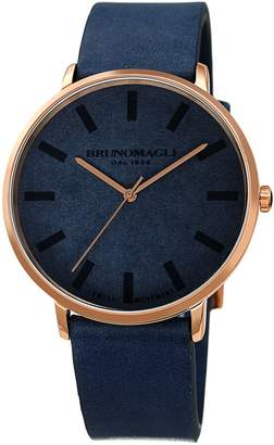 Bruno Magli Roma Rose Goldtone Analog Leather Strap Watch