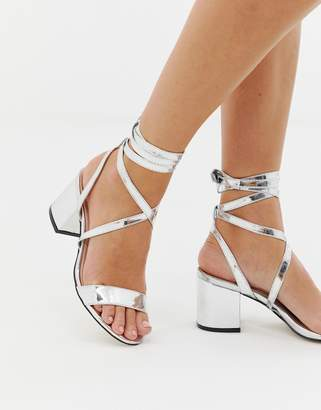 Public Desire Sophie silver mirror ankle tie mid heeled sandals