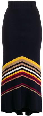 Victoria Beckham Chevron Knitted Midi Skirt