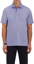 Ermenegildo Zegna Men's Fine-Striped Polo Shirt-PURPLE
