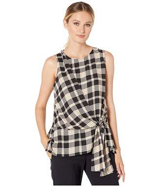 Vince Camuto Sleeveless Asymmetrical Tie Front Highland Plaid Blouse (Rich Black) Women's Clothing
