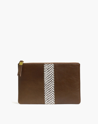 Madewell The Suede Pouch Clutch: Snake Embossed Leather Inset Edition