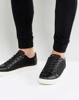Armani Jeans All Over Logo Trainers In Black