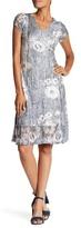 Komarov Short Sleeve V-Neck Flared Dress