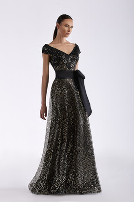 Edward Arsouni Sequin and Tulle Cap Sleeve Gown