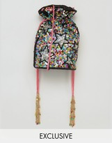 FROM ST XAVIER From St Xavier X How Two Live Hand Beaded Drawstring Multi COLORED Cross Body Bag