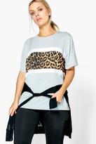 Boohoo Plus Kiera Leopard Print Panel Sports Tee multi