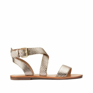 La Redoute Collections Plus Leather Tortoiseshell Sandals in Wide Foot