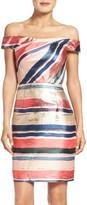 Adrianna Papell Women's Gold Leaf Jacquard Sheath Dress