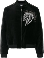 Just Cavalli horse embroidered bomber jacket