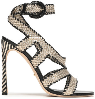Sergio Rossi Metallic Woven Leather Sandals